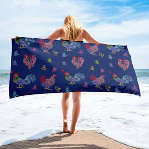 Fluffy Layers Purple Chickens and Butterflies Towel-Towel-Fluffy Layers