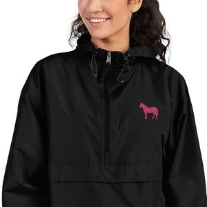 Fluffy Layers Customizable Horse Embroidered Packable Jacket with Hood (black)-Fluffy Layers