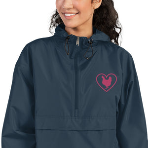 Fluffy Layers Customizable Chicken LOVE Embroidered Packable Jacket with Hood (navy)-Fluffy Layers