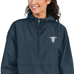 Fluffy Layers Customizable Cow Embroidered Packable Jacket with Hood (navy)-Fluffy Layers