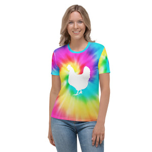 Fluffy Layers Tie-Dye Chicken Women's T-shirt-Fluffy Layers
