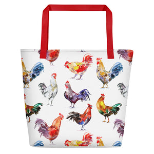 Fluffy Layers Watercolor Hens and Roosters Jumbo Beach Tote-Fluffy Layers