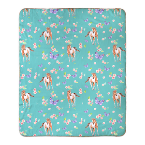 Fluffy Layers Ponies & Butterflies Fleece Sherpa Blanket / Crib Comforter / Toddler Bed Blanket-Fluffy Layers