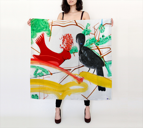 David Humphrey Scarf - Big Square - Birds