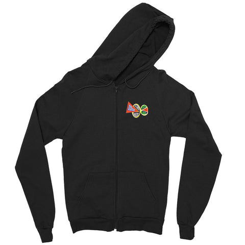 Loren Munk Hoodie -  Men's/Unisex Zip - Black / 80's Art - Front & Back Emblem