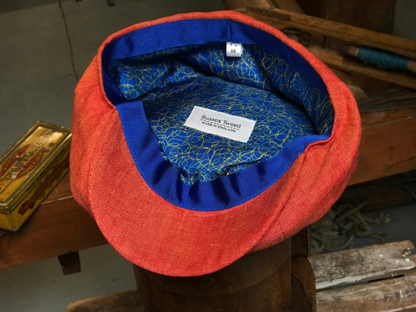 Burnt Orange Linen Tweed Cap for Men