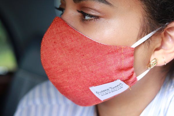 Burnt orange linen face mask