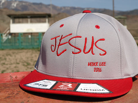 Jesus Red/Grey Flat Bill