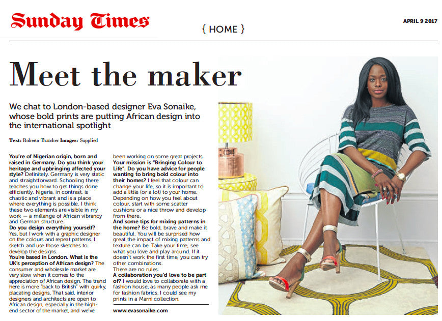 Eva Sonaike in Sunday Times South Africa