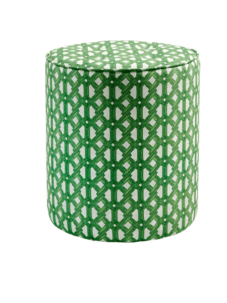 Contemporary African Pouffe with a bright green geometric pattern, inspired by mid century West African architecture. The green Aluro ottoman is handmade in England and our colourful African-inspired pouffe brings colour and an African vibe to modern interiors. Colourful  home furnishings in modern African design. Tropical modernism for contemporary interiors.