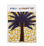 Colourful and bold yellow African batik interior fabric with large tropical palm tree
