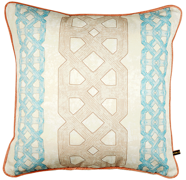 Elegant African batik print cushion graphic blue and light brown pattern