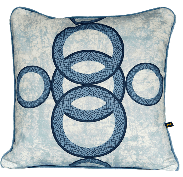 Ara Blue a light blue luxury African cushion with circular pattern on blue batik base