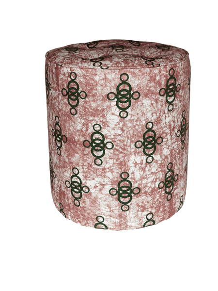 Pink African batik pouffe with green pattern