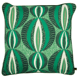 Vibrant green modern African cushion with circular pattern
