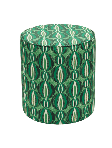 Vibrant green pouffie with circular African print design