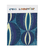 Vibrant blue modern African upholstery fabric with ethnic circular pattern and blue batik backing