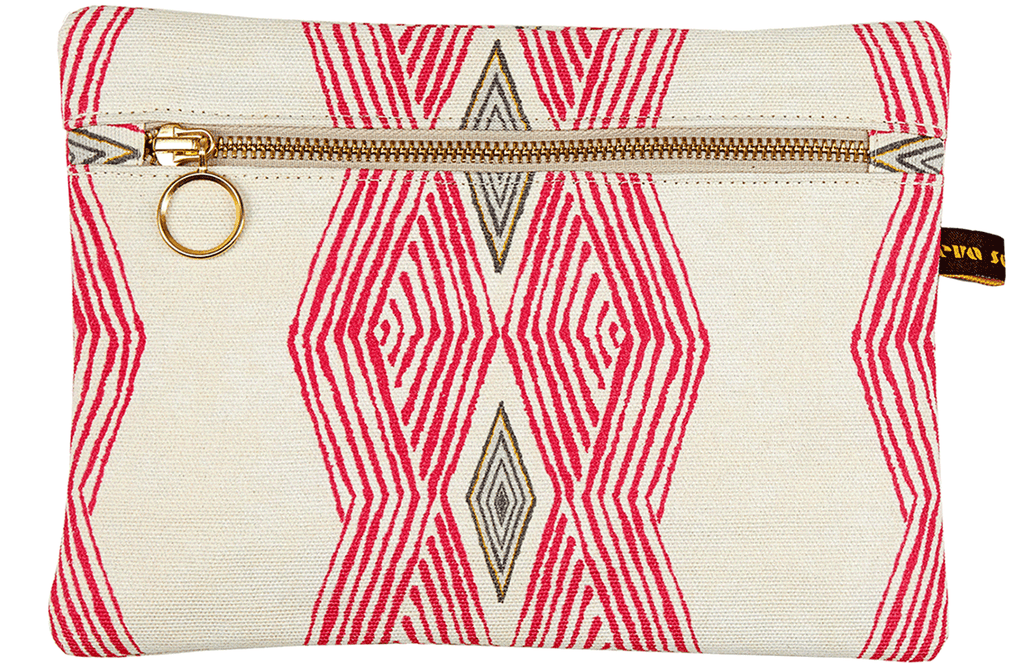 African print makeup envelope bag with bright pink geometric pattern and gold zip
