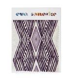 Elegant purple African interior fabric with bold t pattern on batik base