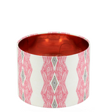 Modern geometric African table lamp with bold pink pattern