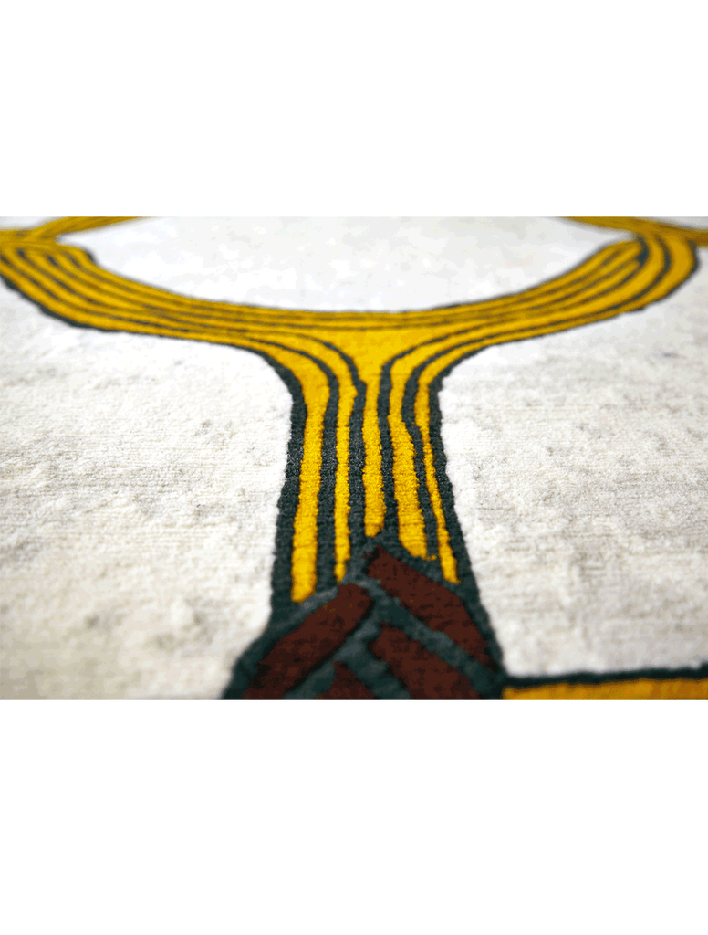 Elegant African rug with modern ethnic yellow circular design on light batik pattern