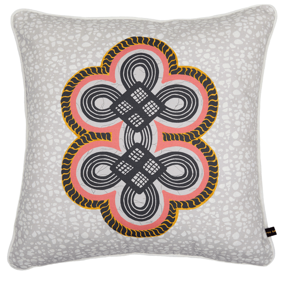 Luxury African cushion with calm grey tropical pattern on batik base