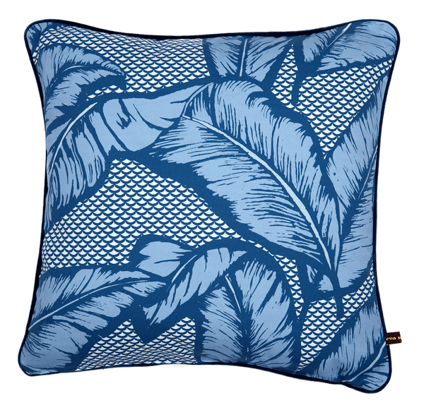 Vibrant African cushion with bold blue palm leaf design