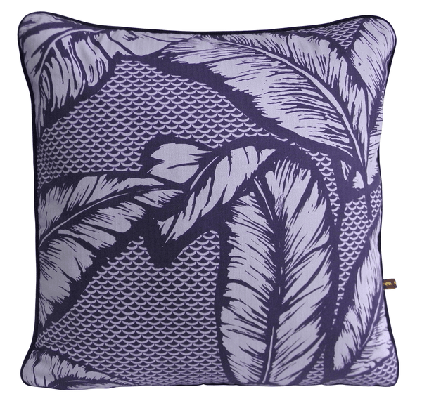 Vibrant African cushion with bold purple palm leaf design