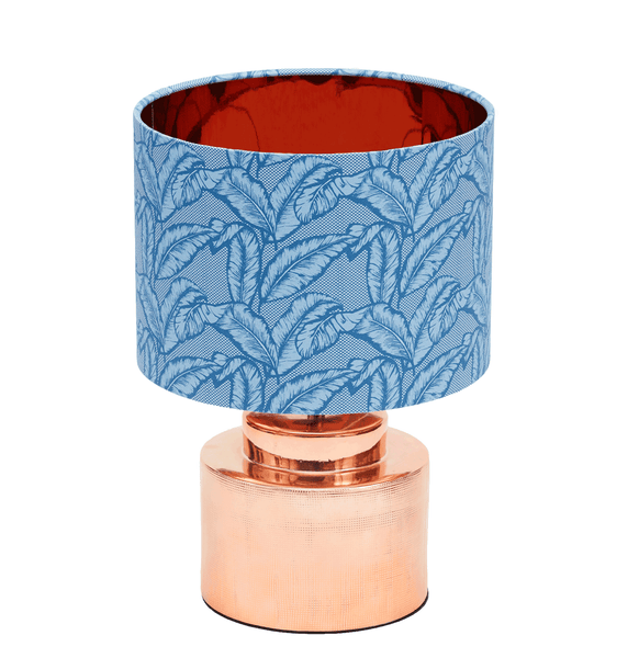 Elegant African table lamp with tropical blue palm leaf design