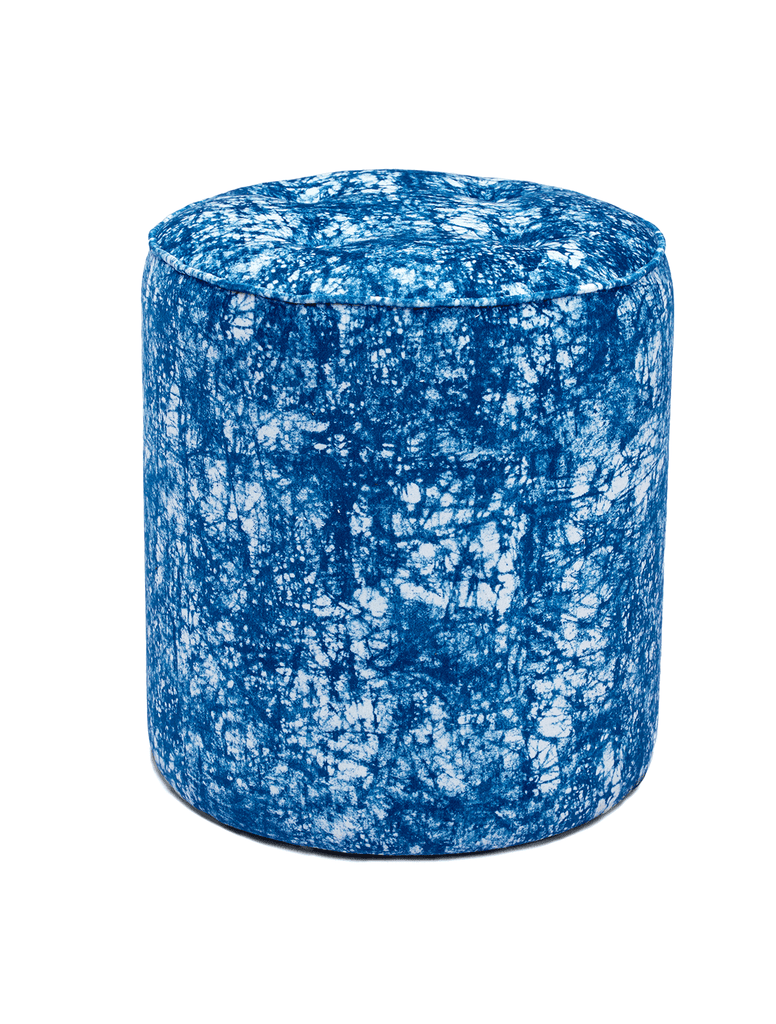 Elegant African pouffe with batik pattern in a soft velvet