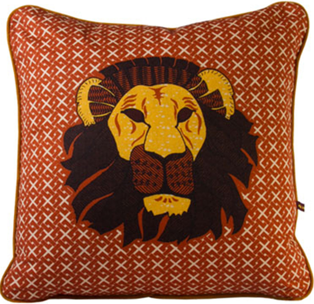 African Lion head cushion with brown geometric pattern