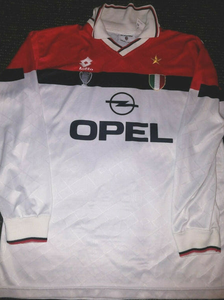 AC Milan Lotto Long Sleeve 1994 1995 White Jersey Maglia Shirt XL - foreversoccerjerseys