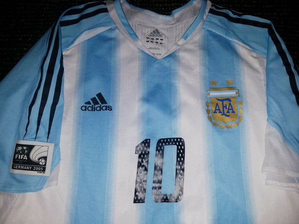 Aimar Argentina 2005 CONFEDERATIONS CUP MATCH WORN Jersey Camiseta L - foreversoccerjerseys