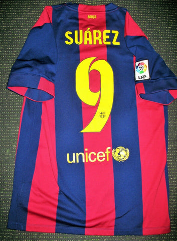 Authentic Suarez Barcelona 2014 2015 TREBLE Jersey Shirt Camiseta Uruguay M - foreversoccerjerseys