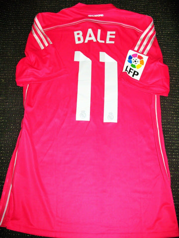 Bale Real Madrid 2014 2015 Pink MATCH WORN Jersey Shirt - foreversoccerjerseys