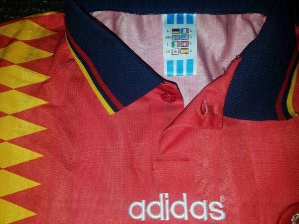 Caminero Spain 1994 MATCH WORN Jersey Shirt Camiseta Espana L - foreversoccerjerseys