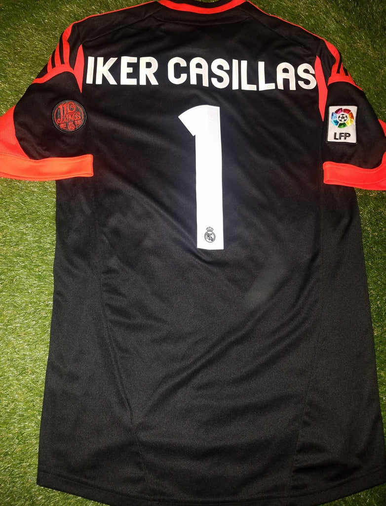 Casillas Real Madrid 2012 2013 110 years Anniversary Black Jersey Shirt Camiseta M foreversoccerjerseys