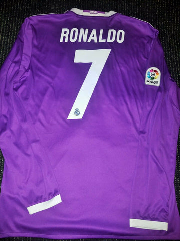 Cristiano Ronaldo Real Madrid 2016 2017 Purple Long Sleeve Jersey Shirt Maglia L - foreversoccerjerseys
