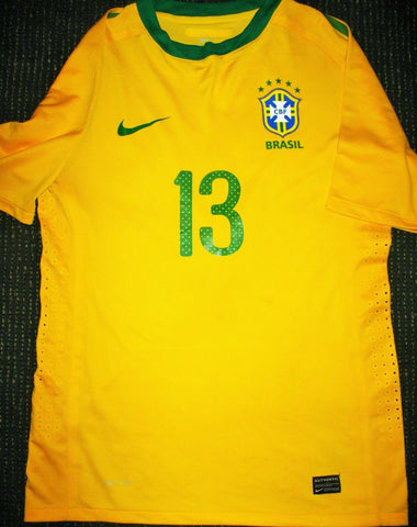 Dani Alves Brazil MATCH WORN FRIENDLY 2010 Jersey Shirt Camiseta L - foreversoccerjerseys
