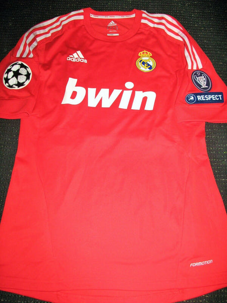 Di Maria Real Madrid MATCH WORN UEFA Red Jersey 2011 2012 Shirt Camiseta M - foreversoccerjerseys