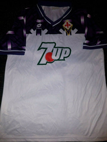 Fiorentina BANNED SWASTIKA Lotto 1992 1993 7up Jersey Maglia L - foreversoccerjerseys