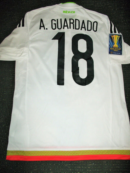 Guardado Mexico 2015 GOLD CUP MATCH WORN White Jersey Camiseta Shirt Trikot - foreversoccerjerseys