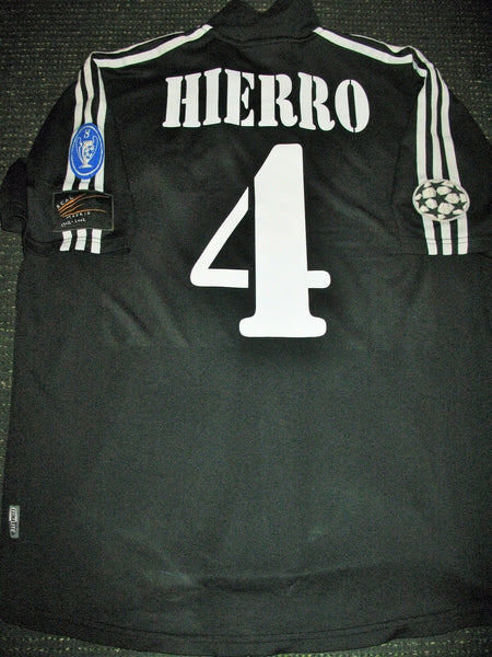 Hierro Real Madrid 2001 2002 Black UEFA Jersey Shirt Camiseta Maglia L - foreversoccerjerseys