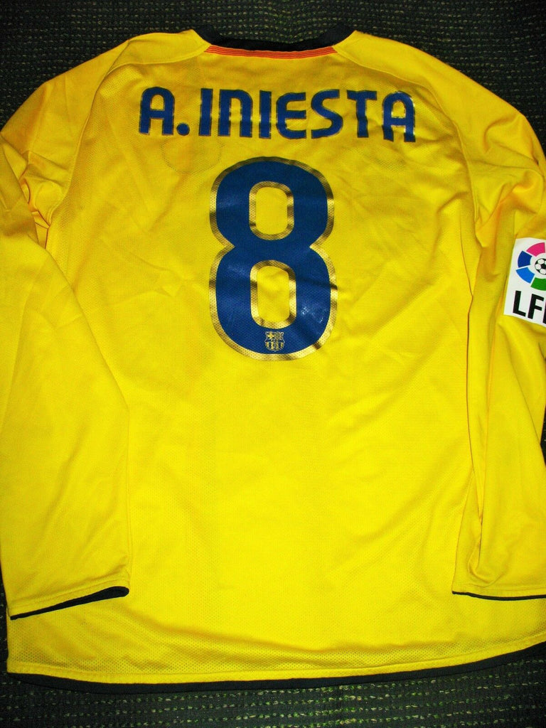 Iniesta Barcelona MATCH WORN 2008 2009 Yellow Long Sleeve Jersey Shirt Camiseta M - foreversoccerjerseys