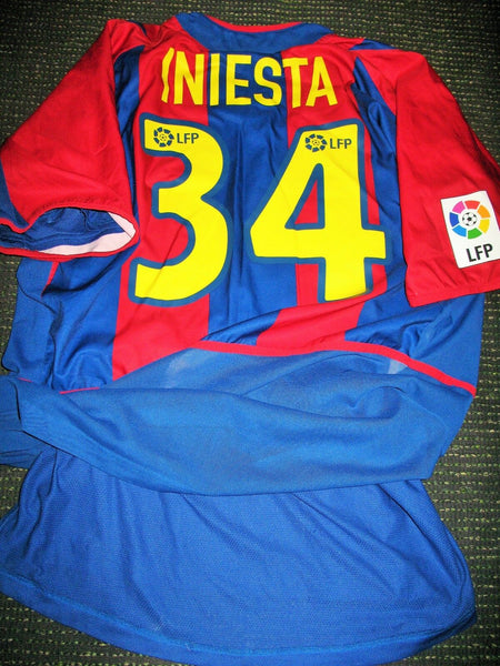 Iniesta Barcelona PLAYER ISSUE DEBUT 2002 2003 Jersey Shirt Camiseta XL - foreversoccerjerseys