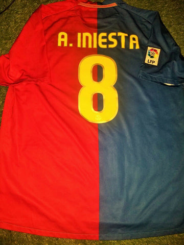Iniesta Barcelona TREBLE SEASON 2008 2009 Jersey Shirt Camiseta XL - foreversoccerjerseys