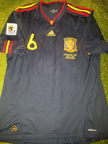 Iniesta Spain 2010 WORLD CUP Final Navy Jersey Espana Camiseta Shirt XL foreversoccerjerseys