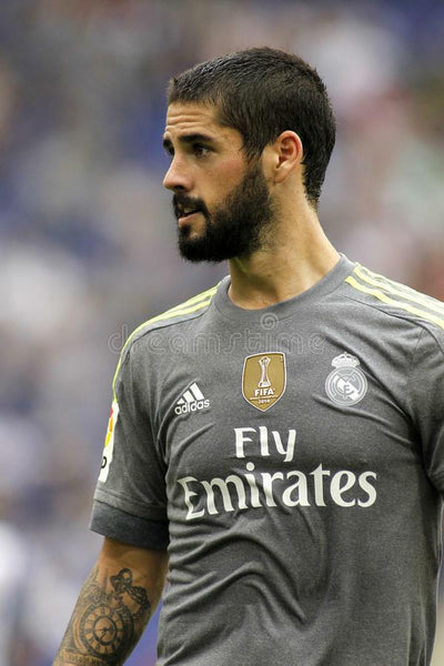Isco Real Madrid 2015 2016 MATCH ISSUED Adizero Gray Long Sleeve Jersey Camiseta Shirt M 6 - foreversoccerjerseys