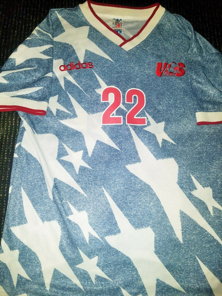 Lalas USA 1994 WC Jersey US Blue Denim Shirt Trikot Maglia XL - foreversoccerjerseys