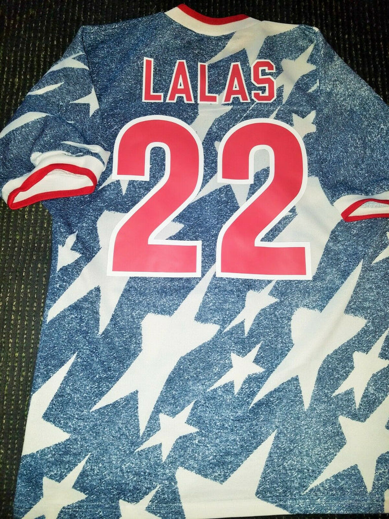 Lalas USA US Blue Denim 1994 WC Jersey Shirt Trikot Maglia M - foreversoccerjerseys